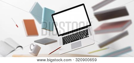 Home office workplace mess concept with laptop mockup and other objects flying in the air. Clipping path included. 3D Render