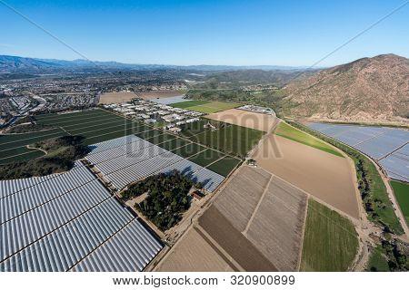 Aerial view of coastal farm fields near Camarillo scenic Ventura County, California.