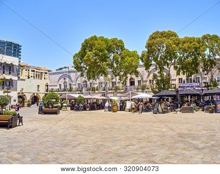 Gibraltar, Uk - June 29, 2019. Casemates Square Of Gibraltar Downtown. View From Main Street. Gibral