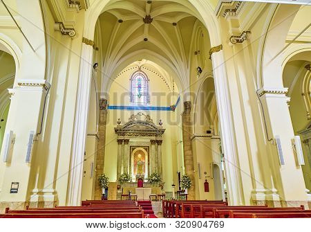 Gibraltar, Uk - June 29, 2019. Nave Of Saint Mary The Crowned Cathedral. Gibraltar. British Overseas