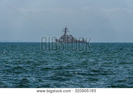 Thessaloniki, Greece - August 31 2019: Uss Mc Faul Ddg-74 Warship Moored At Open Sea. United States