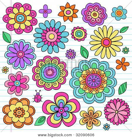 Flower Power Flowers and Ladybug Groovy Psychedelic Hand Drawn Notebook Doodle Design Elements Set on Lined Sketchbook Paper Background- Vector Illustration