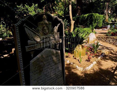 Gibraltar, Uk - June 29, 2019. Gravestones Of The Trafalgar Cemetery In The British Overseas Territo