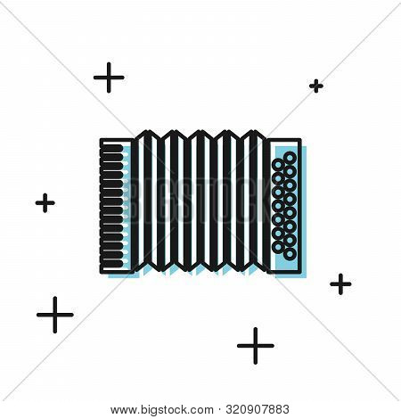 Black Musical instrument accordion icon isolated on white background. Classical bayan, harmonic. Vector Illustration poster