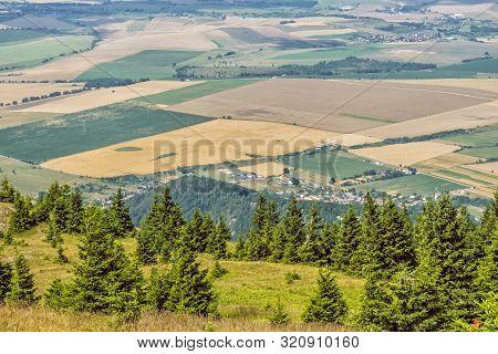 View From Tlsta Peak To Turiec Valley, Slovak Republic. Seasonal Natural Scene. Travel Destination.