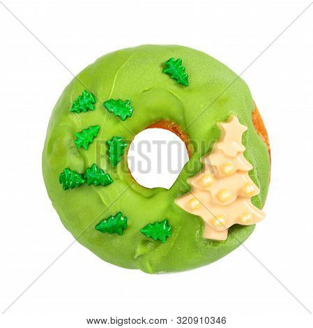 Christmas Donut With Green Icing And Sprinkles Isolated On White Background. Christmas And New Year