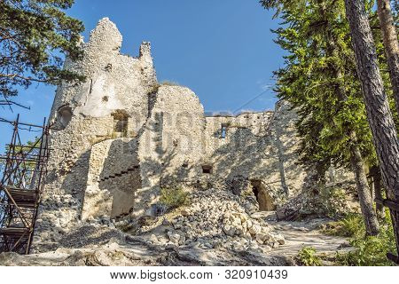 Blatnica Castle Ruins, Slovak Republic. Travel Destination. Architectural Theme.