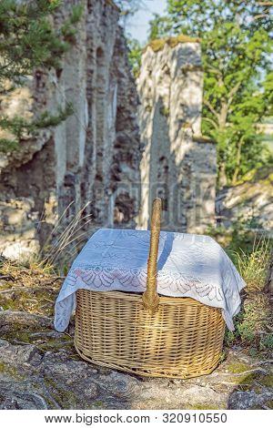 Blatnica Castle Ruins, Slovak Republic. Wicker Basket With Breakfast. Travel Destination. Architectu