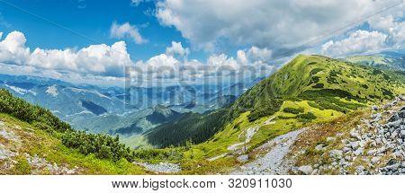 View From Prasiva Peak, Low Tatras, Slovak Republic. Seasonal Natural Scene. Travel Destination. Pan