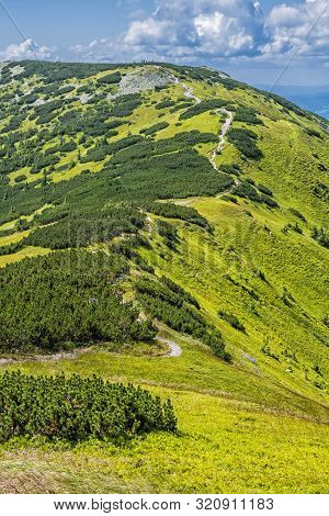 View From Prasiva Peak, Low Tatras, Slovak Republic. Seasonal Natural Scene. Travel Destination.
