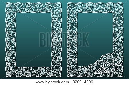 Frames For Laser Cutting, Vector Set Of Templates, Abstract Pattern, Underwater Design With Seashell