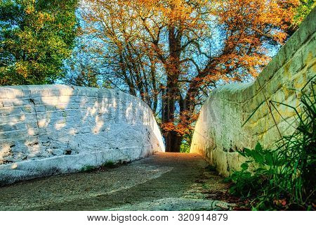 Close up of a white painted brick bridge spanning over the river Gade in Hertfordshire, U.K poster