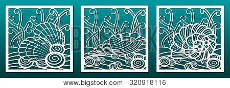Laser Cut Panels Templates With Underwater World Design Pattern, Seashells And Sea Weeds. For Metal