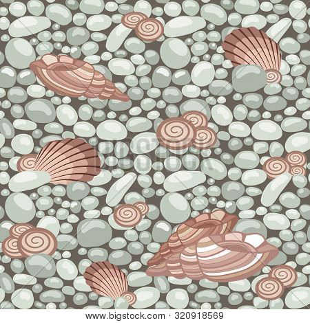 Stone Texture With Seashells, Seamless Pattern. Cobble, Shingle, Gravel, Shells To Create Background