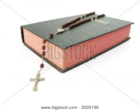 Rosary Over An Old Holy Bible