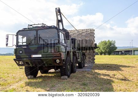 Minden / Germany - September 4, 2019: Lkw 15t Mil Glw With Folding Street Device Of German Army Engi