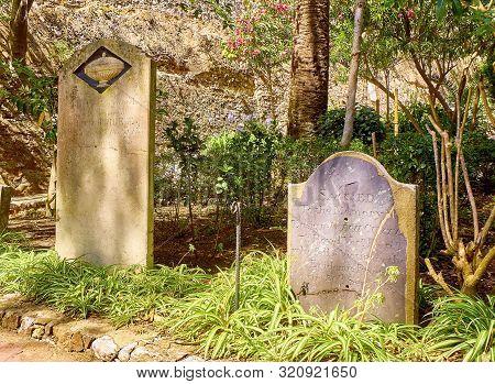Gibraltar, Uk - June 29, 2019. Trafalgar Cemetery In The British Overseas Territory Of Gibraltar. He