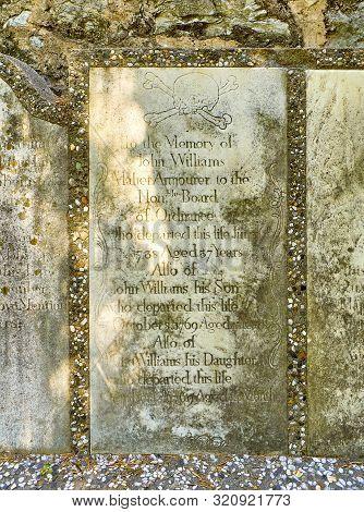 Gibraltar, Uk - June 29, 2019. A Gravestone Of The Trafalgar Cemetery In The British Overseas Territ