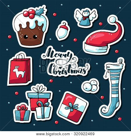 Cute Doodle Christmas Stickers In Cartoon Style. Vector Hand Drawn Images Of Christmas Cake, Deer, G