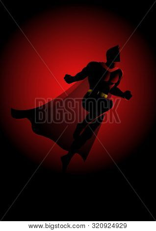 Cartoon Silhouette Of A Superhero Flying On Dramatic Red Background
