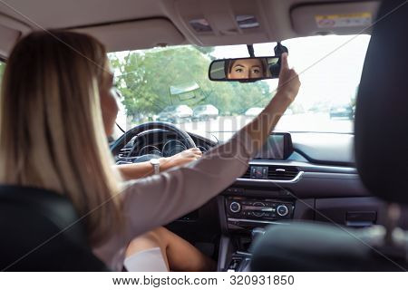 Woman Driving Car, In Summer City, Rear-view Mirror, Parking Car, Reversing, Looks Back Row Seats, C