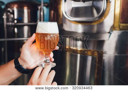 Oktoberfest Festival. Tasting Fresh Brewed Beer. Brewer Holds Glass With Craft Beer. Brewery Concept