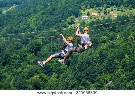 Tara, Montenegro - July 21, 2019. Zip Line Above Tara Canyon River In National Park Durmitor