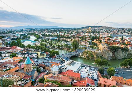 Tbilisi, Georgia - August 2019. Tbilisi Downtown And Old Town Aerial View In The Capital Of Georgia
