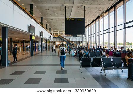 Berlin, Germany - July 2019: Berlin Schonefeld Airport Architecture And Passengers In Berlin, German