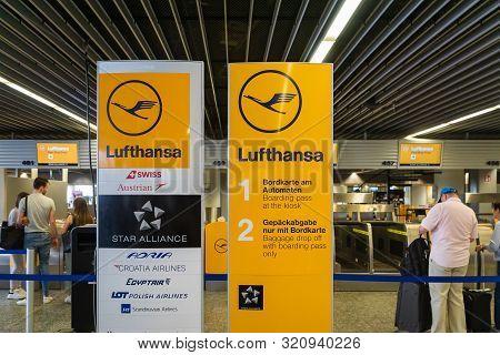 Frankfurt, Germany - July 2019: Lufthansa Airline Check-in Counter In Frankfurt International Airpor