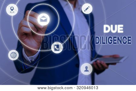 Conceptual hand writing showing Due Diligence. Business photo text Comprehensive Appraisal Voluntary Investigation Audit. poster