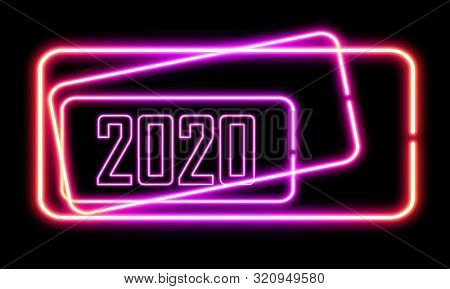 abstract background with 2020 like neon colour light for advertising