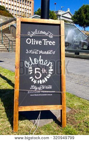 Newcastle, Nsw, Australia - September 7,2019:  Welcome To Olive Tree Markets Signage Advertising The