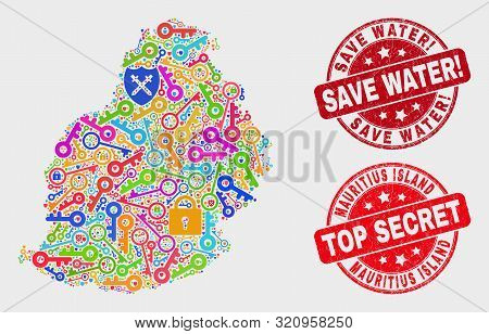 Security Mauritius Island Map And Seal Stamps. Red Rounded Top Secret And Save Water Exclamation Dis