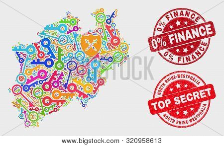 Passkey North Rhine-westphalia Land Map And Seal Stamps. Red Round Top Secret And 0 Percent Finance