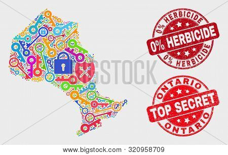 Keep Ontario Province Map And Watermarks. Red Rounded Top Secret And 0 Percent Herbicide Grunge Wate