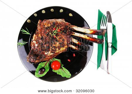 grilled ribs rack over black plate with cutlery poster