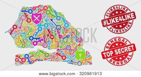 Keep Senegal Map And Seal Stamps. Red Round Top Secret And Hashtag Like4like Textured Seal Stamps. C