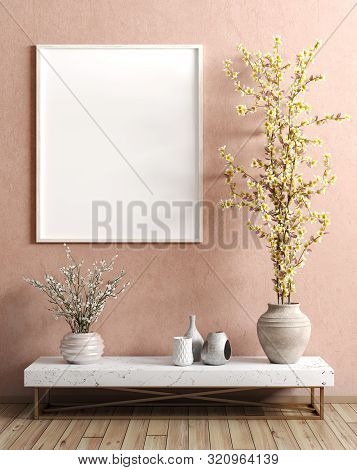 Modern Interior Of Living Room With Wooden Side Table With Vase With Branch And Mock Up Poster Over