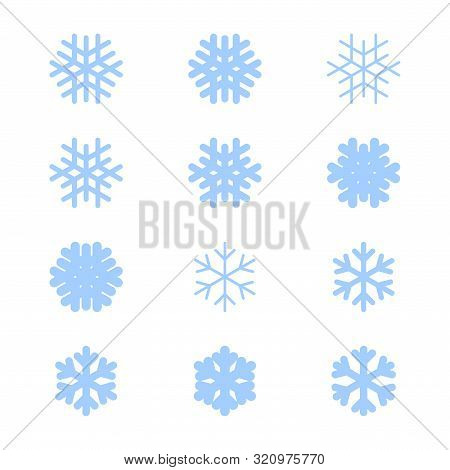 Snowflakes Signs Set. Blue Snowflake Icons Isolated On White Background. Snow Flake Silhouettes. Sym