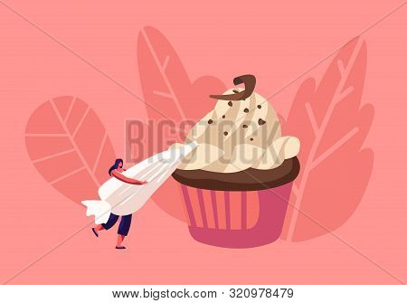 Bakery And Sweet Food Concept. Tiny Woman Decorate Huge Chocolate Cupcake With Cream In Pastry Bag.