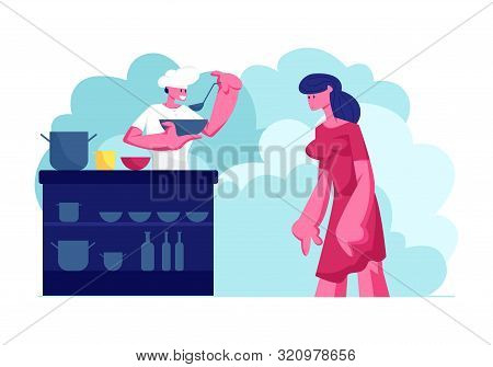 Young Male Volunteer Feeding Poor Homeless People. Man Giving Food to Beggar Woman on Street. Voluntary Help to Bums. Shelter, Emergency Housing, Temporary Residence Cartoon Flat Vector Illustration poster