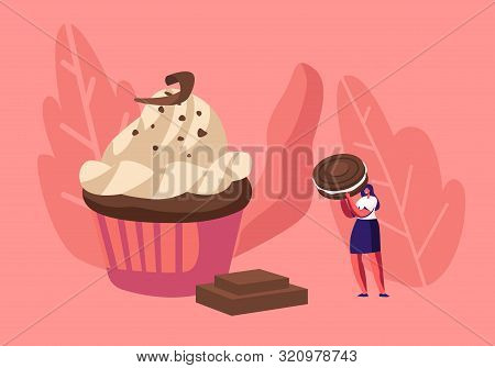 Woman Decorate Festive Cupcake With Chocolate, Cream And Cookies. Tiny Female Character Decorating H