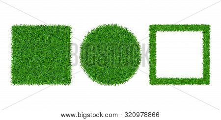 Green Grass Background 3d Set. Lawn Greenery Nature Ball. Soccer Field Texture, Circle, Square Frame