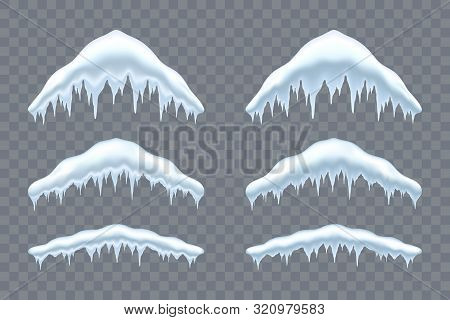 Snow Cap Ice Set. Winter Design Snowy Icicle Roof. White Blue Snow Template. Frame Decoration Isolat