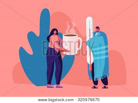 Flu And Sickness Concept With Sick Person Having Cold. Ill Man Wrapped To Warm Plaid Holding Huge Th