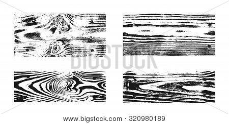 Wood Texture White Black Set. Wooden Planks Pattern Overlay Texture. Grunge Sketch Effect. Crack Mot