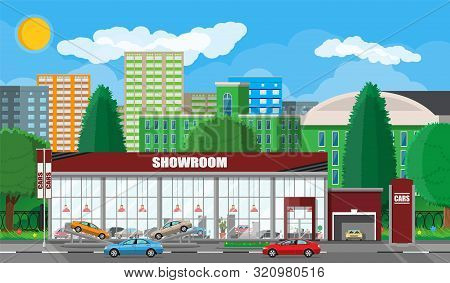 Exhibition Pavilion, Showroom Or Dealership. Car Showroom Building. Car Center Or Store. Auto Servic