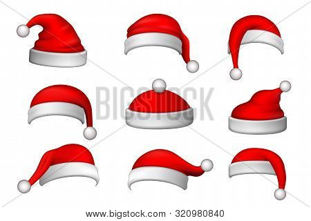 Santa Claus Hat 3d Set. Realistic Santa Claus Hat Isolated On White Background. Red Funny Cap Silhou