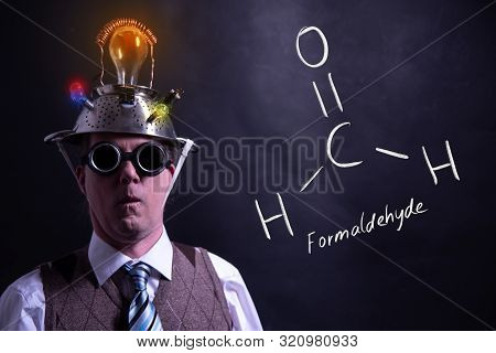 Nerd Presenting Handdrawn Chemical Formula Of Formaldehyde